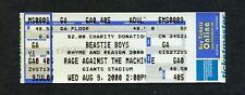 2000 Beastie Boys Rage Against Machine Unused Concert Ticket Giants Stadium Nj
