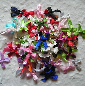 100 SATIN RIBBON BOWS 20mm wide LOTS OF COLOURS TO CHOOSE FROM