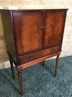 Flamed Mahogany Cocktail Drinks Bar Cabinet. Delivery Available