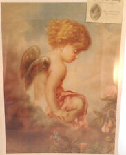 """Victorian Lithograph Print """"Day Dreams"""" Dnagel Sitting On A Cloud  12"""" X 16"""" New"""