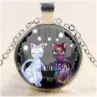 Luna and Artemis Photo Cabochon Glass Tibet Silver Chain Pendant Necklace