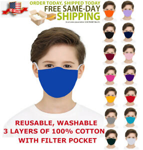 KIDS Face Mask Triple Layers 100% Cotton Washable Reusable With Filter Pocket