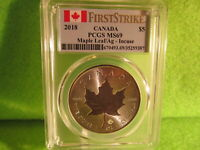 EXQUISITE 2018 CANADIAN INCUSE MAPLE LEAF, PCGS MS 69, FIRST STRIKE