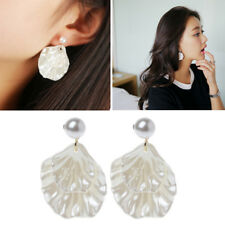 Mother of Pearl Double Carve Shell Leaf Dangle Hook Earrings Silver Tone Jewelry