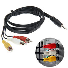 3.5mm Jack to 3 RCA Adapter Cable Audio Video AV Converter Cord Black 4ft 1.2m
