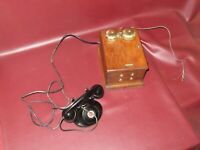 Antique Western Electric Hand Crank Wall Mount Oak Case & Table Top Telephone
