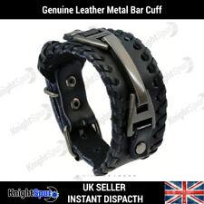 Genuine Leather Metal Bar Bracelet / Cuff Rock Punk Rocker Surf Unisex Gothic