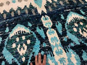 9x12 HANDMADE BLUE SILK RUG MODERN HAND-KNOTTED geometric handmade turquoise RUG