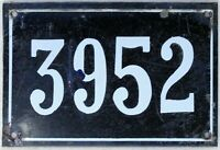 Large old black French house number 3952 door gate wall plate enamel metal sign