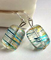 Silver Murano Style Glass Earrings Plated Dangle Bead Hand Painted Aqua Gold USA