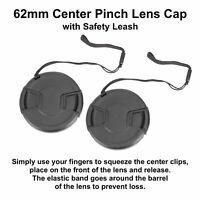 2pcs 62mm Center Pinch Snap-On Lens Cap with Leash Canon Nikon Sony DSLR Camera