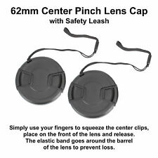 2pcs 62mm Center Pinch Snap-On Lens Cap with Leash Canon Nikon Sony DSLR Camera