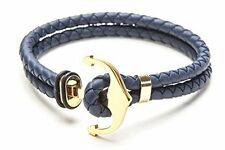 / Gold Anchor Medium 7.5 inch Vice Bracelet Rubber Dark Grey Double Strand