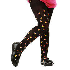 Black Candy Corn Pattern Halloween Costume Tights for Girls Kids