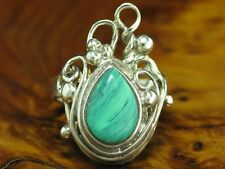 925 Sterling Silver Ring With Malachite Decorations/Real Silver/Rg 62/0.4oz
