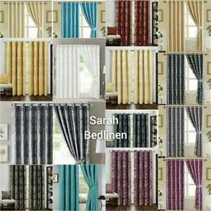 Jacquard Ring Top Eyelet Curtains Ready Made Fully Lined +2 free Tie Back