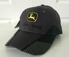 John Deere Charcoal & Black Hat / Cap w Cool Details on Bill Vintage Logo