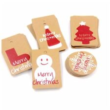 50 Pcs Merry Christmas Kraft Paper Hanging Tags Tree Ornaments Xmas Decorations