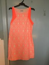 Kookai orange box stitched dress with cream in size 38