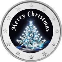 2 Euro Gedenkmünze mit Merry Christmas coloriert Farbe / Farbmünze / Weihnachten
