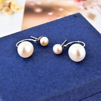New 18K White Gold Filled Double Genuine Freshwater Pearl Stud Earrings Wedding