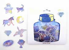 48 Japanese whimsical constellation sticker flakes! Unicorns, cats, stars, moon!