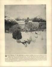 Curran, Charles C.  ~ Old Artwork ~ Winter Morning in the Barnyard