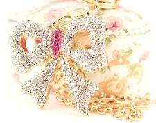 Bow Fashion Keychain Rhinestone Charm Cute Gift Present Key Ring Accessory 01198