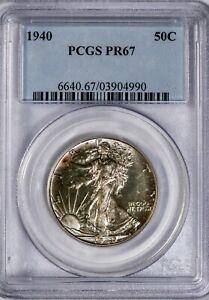 1940 50C Walking Liberty PCGS PR67 Silver Half Dollar Proof, Superb Gem!