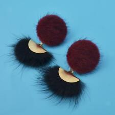 Round Button Shaped Fur Studs Secter Pom Pom Dangle Stud Earrings Multicolor