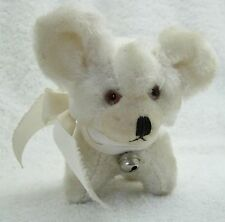 Vintage Mohair White Dog Plush Animal w Very Big Ears & Bow Pomeranian Puppy