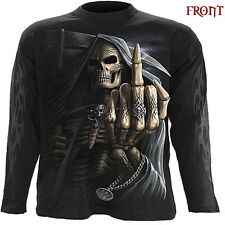 Spiral Direct BONE FINGER Long Sleeve T-shirt/Biker/Tattoo/Skull/Reaper/Goth/Top