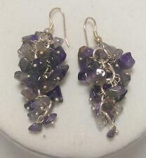 *Authentic* India Amethyst Beaded  Gemstone Chandelier Earrings #34