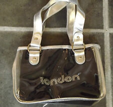 LONDON 2 IN ONE HANDBAG & CLUTCH BAG BLACK LONDON DIAMANTES  CLEAR PLASTIC OUTER