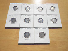 1980 81 82 -1984 1985 1986 1987 1988 1989 S Proof Roosevelt Dime 10 Coin Set Lot