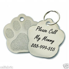 Stainless Steel Dog ID Tag Paw Engraved Personalized Custom Pet Cat Tags Name