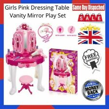 Girls Pink Dressing Table Vanity Mirror Play Set Toy Make Up Desk With Stool