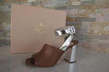 PRADA Gr 40,5 Sandaletten sandals Schuhe shoes Abendschuhe braun silber UVP 520€