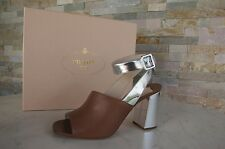PRADA Gr 40.5 Sandalias sandals Zapatos Zapatos de noche marrón plata