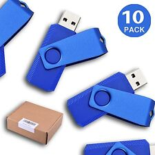 10 Lots Non-slip 16G USB Flash Drive Swivel Pen Drive Rotating Memory Stick Blue