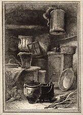 EAU FORTE / Fables de la Fontaine 1883 / LE POT DE TERRE ET LE POT DE FER