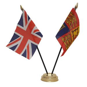 Union Jack & UK Royal Standard Deluxe Double Friendship Table Flag FREE UK p&p