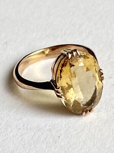 Beautiful  Vintage 9ct GOLD & CITRINE Oval Dress Ring * Size J * 15 X 10mm Stone
