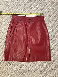 Vintage Womens Red Leather Mini Skirt WILSONS LEATHER Size 31