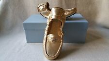 NWB Auth Prada Scrunch Driving Logo Loafer 37.5 gold leather Moccasin flats shoe