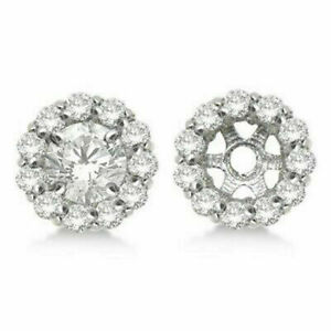 Round Diamond Earring Jackets For 8mm Studs 14K White Gold Finish (1.00ct)
