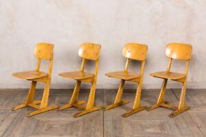 VINTAGE RETRO SCHOOL CHAIRS BEECH SEATING GERMAN INDUSTRIAL SCHOOL SEATS