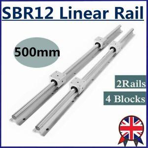 2x SBR12 Linear Rail Guide Shaft Rod 500mm(19.68')+4x SBR12UU Bearing Blocks CNC