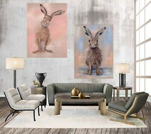 SET OF 2, PRETTY HARE & SWEET HARE, CHUNKY BOX CANVAS WRAPS FROM MY ART PAINTING