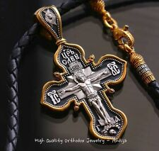 RUSSIAN ORTHODOX CROSS+LEATHER CORD SILVER 925+999 GOLD.MOTHER OF GOD-KAZAN.SALE